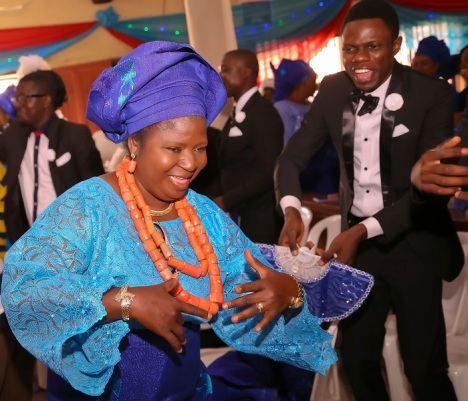 nigerian traditional wedding attires blue lace red beads IMG_1956