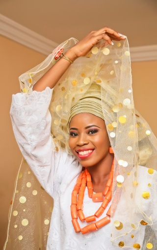 nigerian traditional wedding white and gold lace with red beads IMG_9953